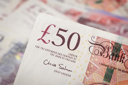 sterlina: primo piano Banconote della sterlina