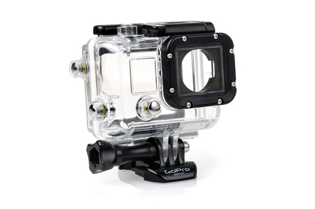 vdo: BANGKOK, THAILAND - APRIL 01, 2015: Housing for GoPro Camera isolated on white background. GoPro is a brand of high-definition personal cameras, often used in extreme action video photography.