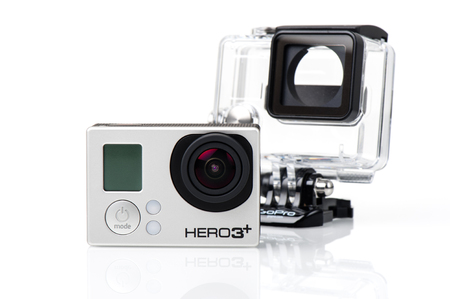 vdo: BANGKOK, THAILAND - APRIL 01, 2015: GoPro HERO3+ Black Edition and housing isolated on white background. GoPro is a brand of cameras, often used in extreme action video photography. Editorial