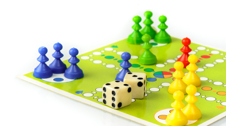ludo: BANGKOK, THAILAND - MAY 06, 2015: Classic board game, Parcheesi or Pachisi or Ludo. Editorial