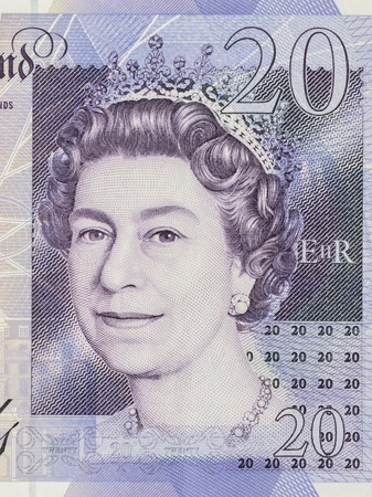 queen elizabeth ii: BANGKOK, THAILAND - JULY 13, 2015: Portrait of Her Majesty Queen Elizabeth II on England 20 Pound Sterling note Editorial