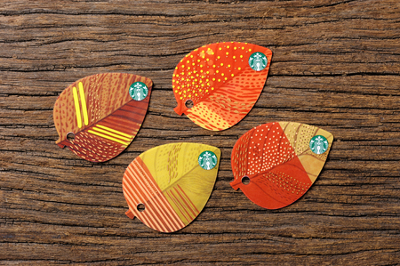 key ring: BANGKOK, THAILAND - JULY 15, 2015: The Starbucks autumn fall leaf shape key ring gift card. Editorial