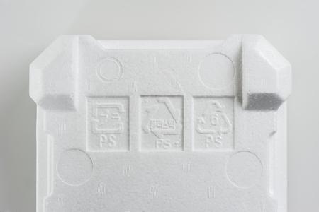 ps: Polystyrene Foam (PS) sign on white foam