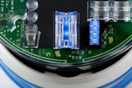 closeup Blue LED (Light Emitting Diode) indicator