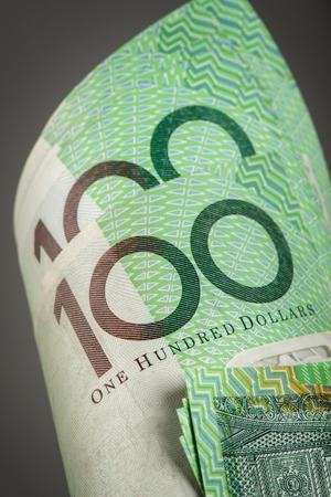 money notes: closeup Australian one hundred dollar bills Stock Photo