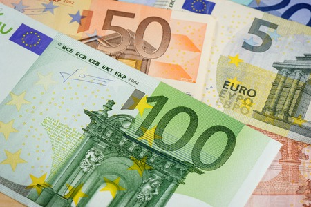 european currency: European currency money, euro bank notes.