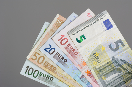 one hundred euro banknote: European currency money, euro bank notes.