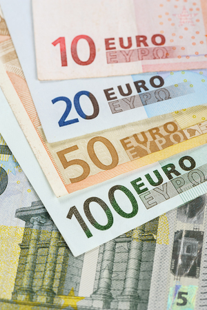 bank notes: European currency money, euro bank notes.
