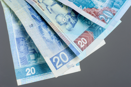 twenty: closeup twenty Hong Kong Dollars bills Stock Photo