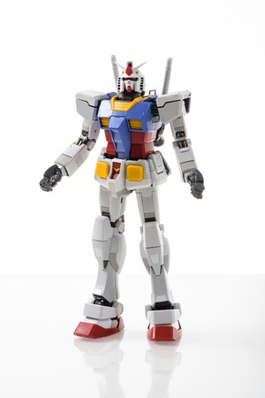 panoply: CHONBURI, THAILAND - MAY 21, 2015: Closeup Gundam RX-78-2 model (without sticker) on white background. Editorial