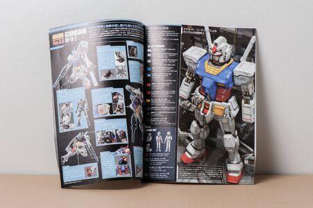 panoply: BANGKOK, THAILAND - MAY 16, 2015: Manual of master grade ver.3.0 RX-78-2 Gundam Model. Gundam models are model kits depicting the vehicles and characters of the fictional Gundam universe by Bandai.
