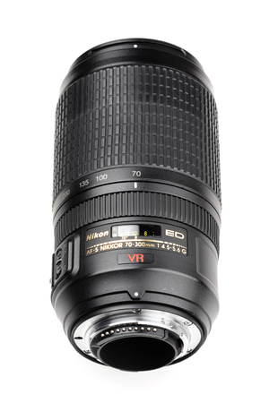 70 s: BANGKOK, THAILAND - MAY 13, 2015: The Nikon 70-300mm f4-5.6G IF-ED AF-S lens. This lens was announced in August 2006 by Nikon. Editorial