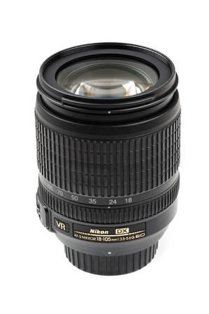 f 18: BANGKOK, THAILAND - MAY 14, 2015: The Nikon 18-105mm f3.5-5.6G AF-S lens. This lens was announced in August 2008 by Nikon