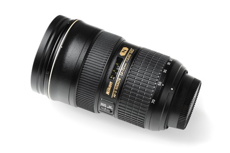 70 s: BANGKOK, THAILAND - MAY 13, 2015: The Nikon 24-70mm f2.8G ED AF-S lens. This lens was announced in 2007 by Nikon, in Japan.