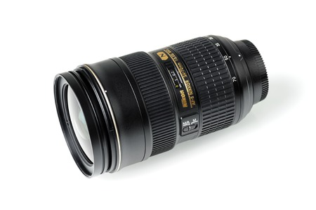 BANGKOK, THAILAND - MAY 13, 2015: The Nikon 24-70mm f2.8G ED AF-S lens. This lens was announced in 2007 by Nikon, in Japan.