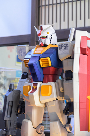panoply: CHONBURI, THAILAND - MAY 17, 2015: Closeup Gundam RX-78-2 model at J-Park Sriracha.