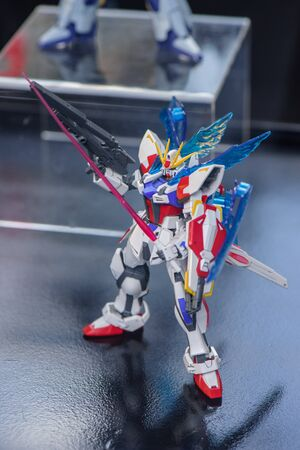 panoply: CHONBURI, THAILAND - MAY 17, 2015: Closeup GAT-X105BST Star Build Strike Gundam model at J-Park Sriracha.