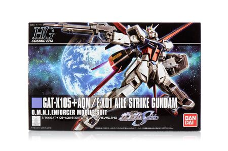 panoply: BANGKOK, THAILAND - MAY 19, 2015: Box of high grade GAT-X105+AQME-X01 Aile strike gundam model. Gundam models are model kits depicting the vehicles and characters of the fictional Gundam universe by Bandai. Editorial