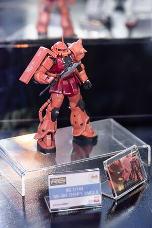 panoply: CHONBURI, THAILAND - MAY 17, 2015: Closeup MS-06S CHARS ZAKU II model at J-Park Sriracha.