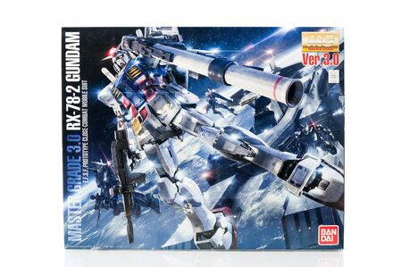 panoply: BANGKOK, THAILAND - MAY 16, 2015: Box of master grade ver.3.0 RX-78-2 Gundam Model. Gundam models are model kits depicting the vehicles and characters of the fictional Gundam universe by Bandai.