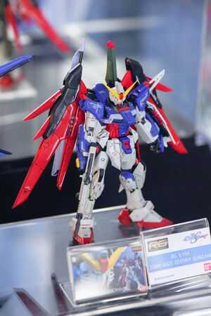 panoply: CHONBURI, THAILAND - MAY 17, 2015: Closeup ZGMF-X42S Destiny Gundam model at J-Park Sriracha.