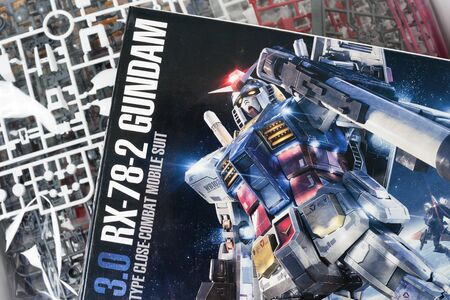 panoply: BANGKOK, THAILAND - MAY 16, 2015: Box of master grade ver.3.0 RX-78-2 Gundam Model. Gundam models are model kits depicting the vehicles and characters of the fictional Gundam universe by Bandai.