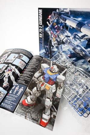panoply: BANGKOK, THAILAND - MAY 16, 2015: Set of master grade ver.3.0 RX-78-2 Gundam Model. Gundam models are model kits depicting the vehicles and characters of the fictional Gundam universe by Bandai.