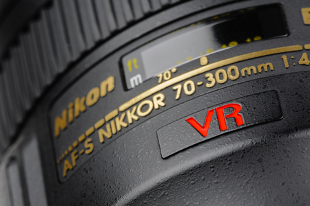 70 s: BANGKOK, THAILAND - MAY 13, 2015: Details of Nikon 70-300mm f4-5.6G IF-ED AF-S lens. This lens was announced in August 2006 by Nikon. Editorial