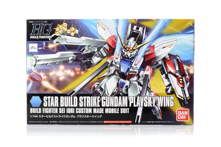panoply: BANGKOK, THAILAND - MAY 19, 2015: Box of high grade Star build strike Gundam plavsky wing Model. Gundam models are model kits depicting the vehicles and characters of the fictional Gundam universe by Bandai. Editorial