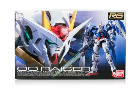 raiser: BANGKOK, THAILAND - MAY 17, 2015: Box of real grade 00 Raiser Gundam Model. Gundam models are model kits depicting the vehicles and characters of the fictional Gundam universe by Bandai. Editorial