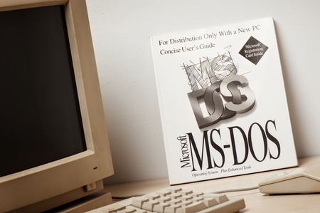 operating system: BANGKOK, THAILAND - MAY 10, 2015: Microsoft MS-DOS users guide. MS-DOS is an operating system for x86-based personal computers mostly developed by Microsoft.
