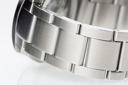 silver metal: closeup silver metal wrist of men watch Stock Photo