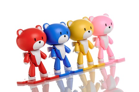 panoply: CHONBURI, THAILAND - AUGUST 10, 2015: Collection of assembled Beargguy plastic model kits in different color. Beargguy is cartoon in Gundam Build Fighters Try series.