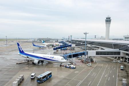 chubu: NAGOYA, JAPAN - JULY 18, 2015: Aircrafts at Chubu Centrair International Airport.