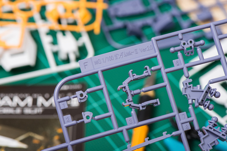 panoply: BANGKOK, THAILAND - AUGUST 11, 2015: Closeup letter runner on unassembled sprue of master grade RX-178 Gundam Mk-II Model.
