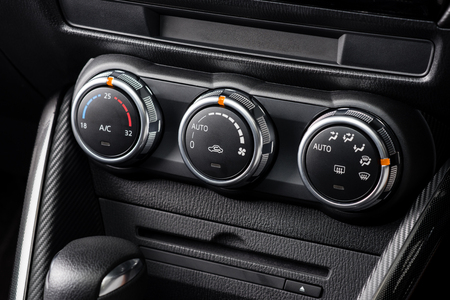 cold air: car air conditioner switch, temperature switch Stock Photo