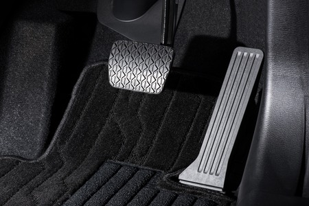 accelerator: Brake and accelerator pedal of automatic transmission car Stock Photo