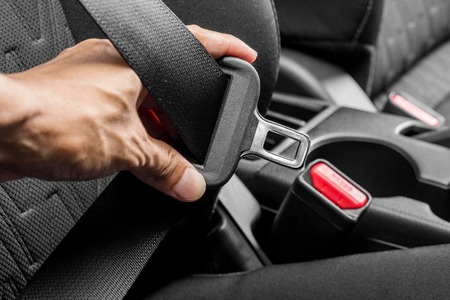 cinturón de seguridad del automóvil primer plano (cinturón de seguridad) Foto de archivo
