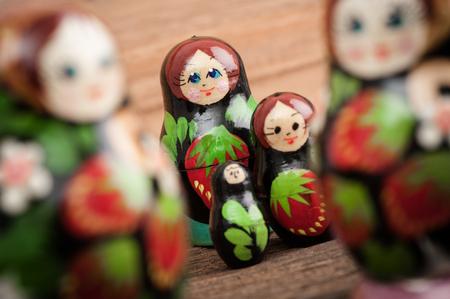 russian nesting dolls: Set of matryoshka or babushkas (Russian nesting dolls).