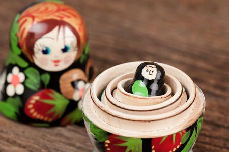 nesting: set of matryoshka or babushkas, Russian nesting dolls Stock Photo