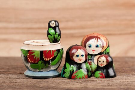 russian nesting dolls: set of matryoshka or babushkas, Russian nesting dolls Stock Photo