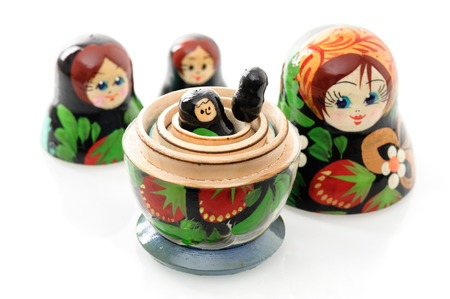 russian nesting dolls: set of matryoshka or babushkas, Russian nesting dolls isolated on white background Stock Photo