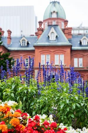 oficina antigua: HOKKAIDO, JAPAN - JULY 25, 2015: The garden in front of former Hokkaido Government Office in Sapporo, Japan.