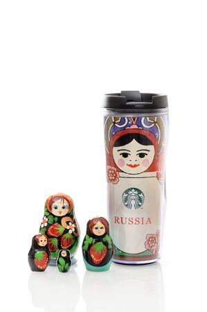 russian nesting dolls: BANGKOK, THAILAND - SEPTEMBER 25, 2015: The Starbucks russia matryoshka tumbler with Russian nesting dolls.