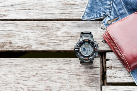 altimeter: BANGKOK, THAILAND - SEPTEMBER 26, 2015: The Protrek watch with a triple sensor watch series of watches from the electronics manufacturer company Casio.