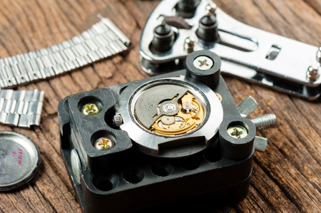 calibre: closeup the movement of old swiss made automatic watch