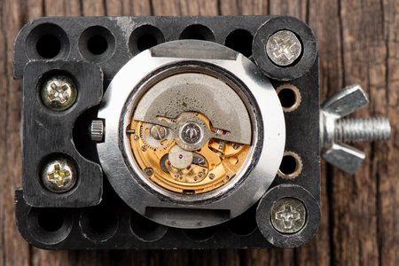 watch movement: closeup the movement of old swiss made automatic watch