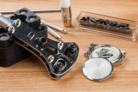 the opener: watch case screw back opener Stock Photo