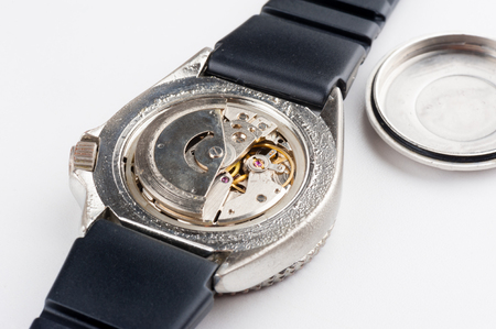 calibre: closeup low quality movement of automatic watch