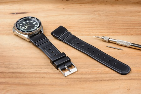 strap on: black rubber watch band, watch strap for dive watch